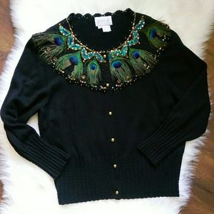 Vtg Peacock Feather Sweater
